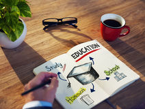 Hand and Notepads with Education Concepts Stock Images