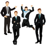 Hand with object. Business men in black suit, illustration Stock Image