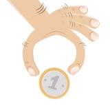 Hand och ett mynt vektor illustrationer
