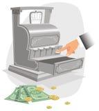Hand och gammalmodig pengarkassalåda Royaltyfri Bild