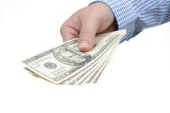 Hand och oss dollar Royaltyfri Foto