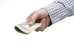 Hand och oss dollar Royaltyfria Bilder