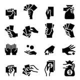 Hand- och pengarsymbol vektor illustrationer