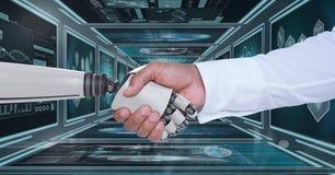 hand och person för robot som 3D skakar händer mot bakgrund med medicinska manöverenheter Arkivfoton