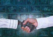hand och person för robot som 3D skakar händer mot bakgrund med medicinska manöverenheter Royaltyfria Bilder