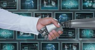 hand och person för robot som 3D skakar händer mot bakgrund med medicinska manöverenheter Royaltyfri Fotografi