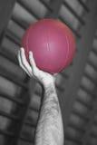 Hand och purpur boll royaltyfri foto