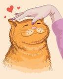 Hand och röd katt Royaltyfri Illustrationer