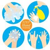 Hand och rengörande momentvektor stock illustrationer
