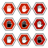 Hand octagon stop symbols Stock Photography