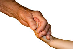 Hand od grandmother and grandchild Stock Photo