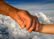Hand od grandmother and grandchild Royalty Free Stock Image