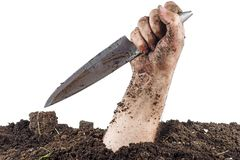 Hand Of Dead Climbs Out Of The Grave And Hold Knife Scroll Isolated On White Background Stock Photography