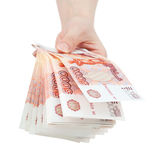 Hand offer big Russian money Royalty Free Stock Photography