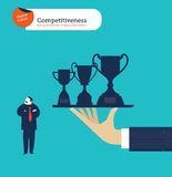 Hand offering a businessman trophies and he isn't interested. Vector illustration Eps10 file. Global colors. Text and Texture in separate layers Stock Photography