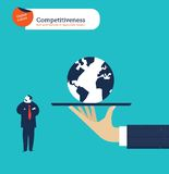 Hand offering a businessman the whole world he isn't  interested. Vector illustration Eps10 file. Global colors. Text and Texture in separate layers Stock Image