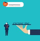 Hand offering a businessman the whole world he isn't  interested. Vector illustration Eps10 file. Global colors. Text and Texture in separate layers Stock Photos