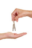 Hand offering keys royalty free stock photography