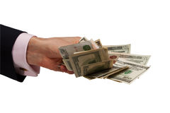 Hand offering money Royalty Free Stock Images