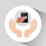Hand oil industry barrel piggy money Stock Images