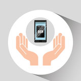 Hand oil industry technology smartphone Royalty Free Stock Photo