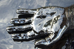 Hand in oil spill Stock Photography