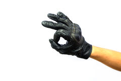 Hand ok sign in black leather glove Royalty Free Stock Photos