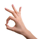 Hand OK sign isolated. On white background Royalty Free Stock Photography