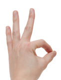 Hand OK sign isolated Royalty Free Stock Photos