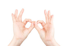 Hand OK sign. Isolated on white background Stock Photos