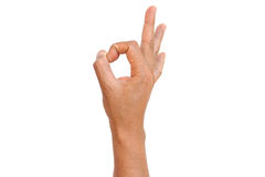 Hand OK sign. Isolated on white background Stock Photography