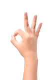 Hand OK sign isolated on white Royalty Free Stock Photos