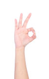 Hand OK sign on white background. Royalty Free Stock Photography