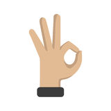 Hand OK sign on a white background. Vector illustration Stock Photography