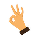 Hand OK sign on a white background. Vector illustration Stock Images