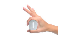 Hand OK sign on white background Royalty Free Stock Photography