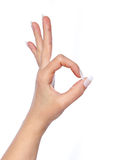 Hand in ok sign on a white isolated Stock Photos