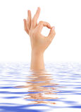 Hand ok in water Stock Photography