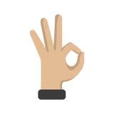 Hand-OKAYzeichen auf einem weißen Hintergrund Auch im corel abgehobenen Betrag Stockfotografie
