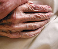 Hand of old age. The wrinkled skin of a very old age hand Royalty Free Stock Photo