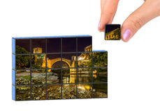 Hand and Old Bridge in Mostar - Bosnia and Herzegovina puzzle m Stock Image