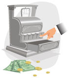 Hand and old fashioned money till. A antiquated cash till. E.P.S. 10 vector file included with image, on white Royalty Free Stock Image