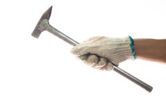 Hand and old hammer Stock Photography