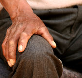 Hand of old man. In south america royalty free stock images