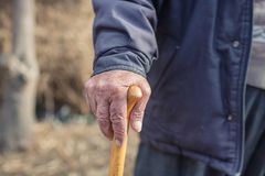 Hand of a old man holding a cane Stock Photography