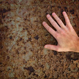 Hand on old rusty metal surface Royalty Free Stock Image