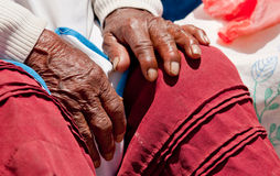 Hand, old Woman, Peru Stock Images