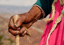 Hand of old woman in south america Stock Photography