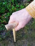 Hand of a old woman with walking stick Stock Image