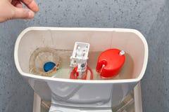 Hand onderaan een reinigingsmiddel in het toiletkom van de water gelijke tank royalty-vrije stock afbeelding